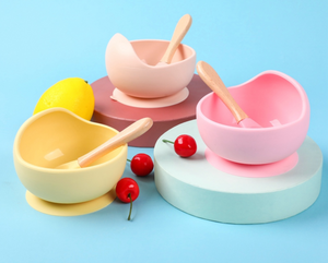 Marble / Peach Silicone Suction Bowl & Spoon
