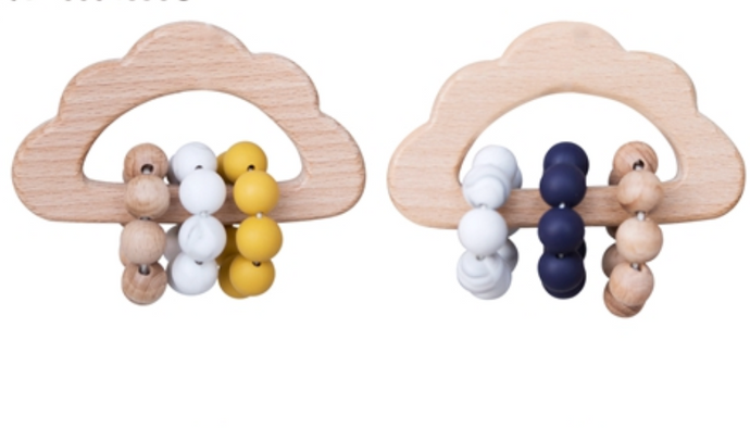Soft silicone teething beads in contrasting colours & wooden rattle in tactile cloud shape. kids baby childrens rattle weaning play