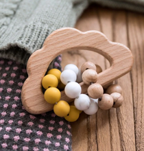 Load image into Gallery viewer, Silicone & Wooden Cloud Teething Rattle