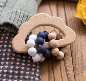 Silicone & Wooden Cloud Teething Rattle