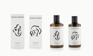 Austin Austin Shampoo & Conditioner gift set pair duo haircare hair washing artist face illustration art drawing  Soil Association CERTIFIED ORGANIC packaging design bergamot juniper