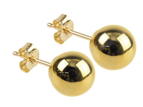 9ct solid gold ball stud earrings