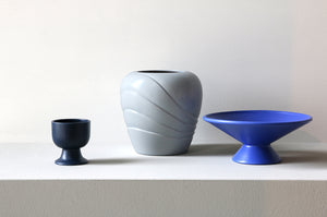 Blue Ceramic Bowl with Raised Angular Base
