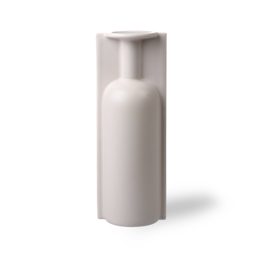 hkliving hk living matte light putty coloured finish to this trompe l'oeil vase in the form of a vase mold tall single stem
