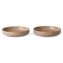 Load image into Gallery viewer, Pair of Speckled Shallow Wide Pinky Taupe Bowls