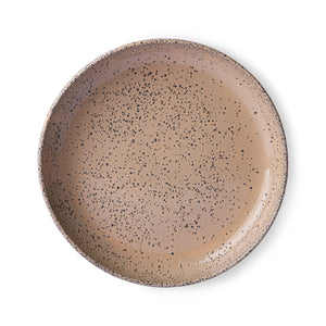 Pair of Speckled Shallow Wide Pinky Taupe Bowls