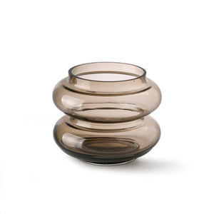 Smoked Brown Glass Wiggle Vase