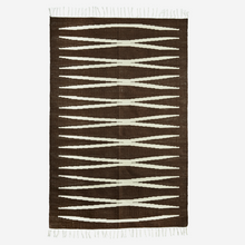 Load image into Gallery viewer, hk living brown cream jute cotton tassels zig zag lines monochrome rug