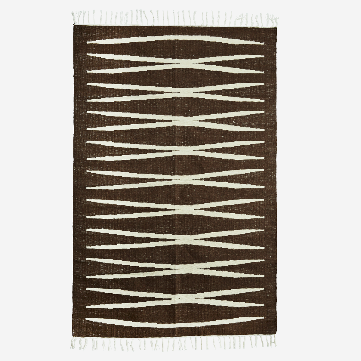 hk living brown cream jute cotton tassels zig zag lines monochrome rug