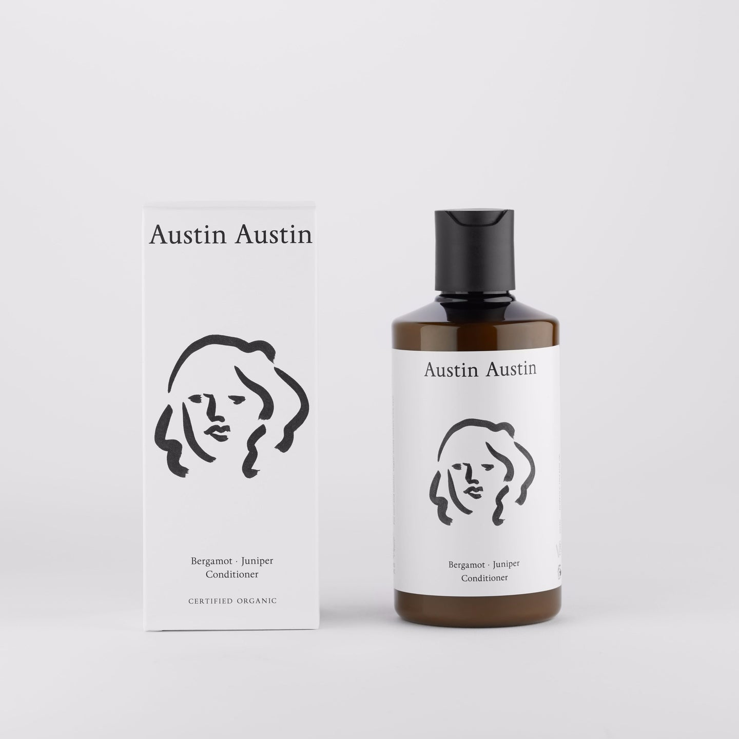 Austin Austin Artist designed packaging organic Beautiful botanical conditioner, moisturise & protect. bergamot juniper certified organic