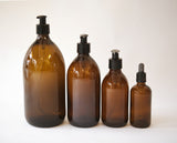 pair of 500ml amber glass apothecary pump bottles