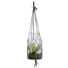 Load image into Gallery viewer, glass vase pot planter leather macrame hanging  loop hk living