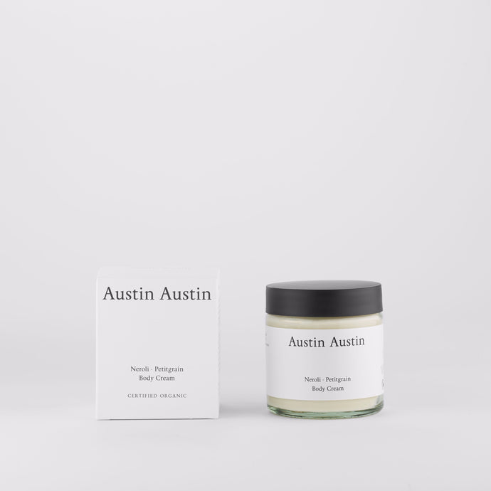 Austin Austin Organic Body lotion cream Made with betaine to soothe, moisturise & protect. Top notes of orange & grapefruit.  Middle notes of neroli & cardamom. Base notes of petitgrain & cedar wood.