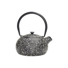 Load image into Gallery viewer, hubsch danish design black cast iron speckled teapot with infusesr tea brew metal splattered paint black handle pouring spout lid white cream dots brewing