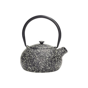 hubsch danish design black cast iron speckled teapot with infusesr tea brew metal splattered paint black handle pouring spout lid white cream dots brewing