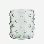 clear spotted glass vessel
