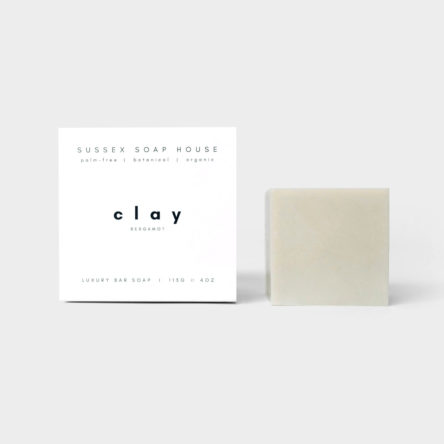 SUSSEX SOAP HOUSE Formulated with mineral-rich clays, nourishing organic plant oils & a cleansing citrus blend of bergamot, lemon, & rosemary essential oils, our gently exfoliating clay bar draws impurities, tones & clarifies the skin with a fresh and fragrant lather cube