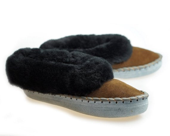 mens handmade embroidered sheepskin slippers