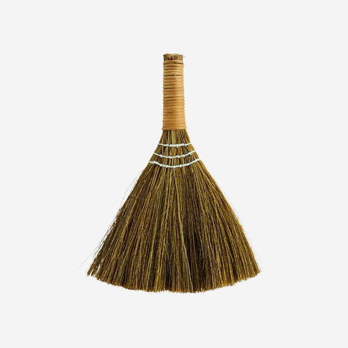 madam stoltz madamstoltz Small short handled table broom with natural hand wrapped rattan handle  sweeping cleaning