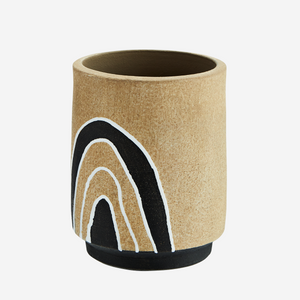 Sand Glazed Plant Pot with Monochrome Illustration