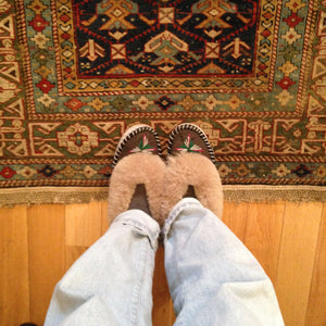 Handmade Embroidered Light Sheepskin Slippers