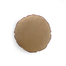 Load image into Gallery viewer, Round Corduroy Cushion with Claret Trim