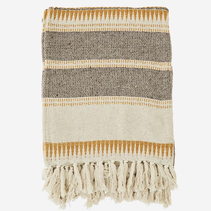 Striped woven throw
