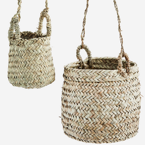 Pair of Hanging Raffia Baskets