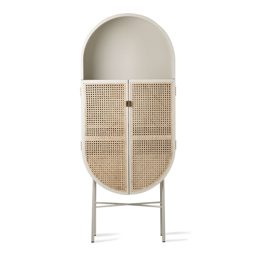 Grey Green Oval Cane Webbing Cabinet