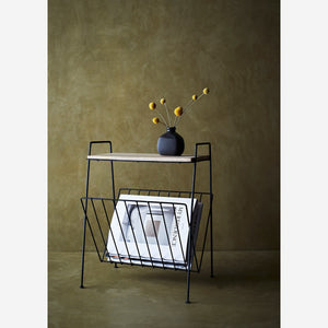 Wood Side Table with Black Magazine Rack