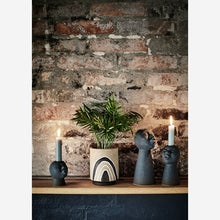 Load image into Gallery viewer, Sand Glazed Plant Pot with Monochrome Illustration