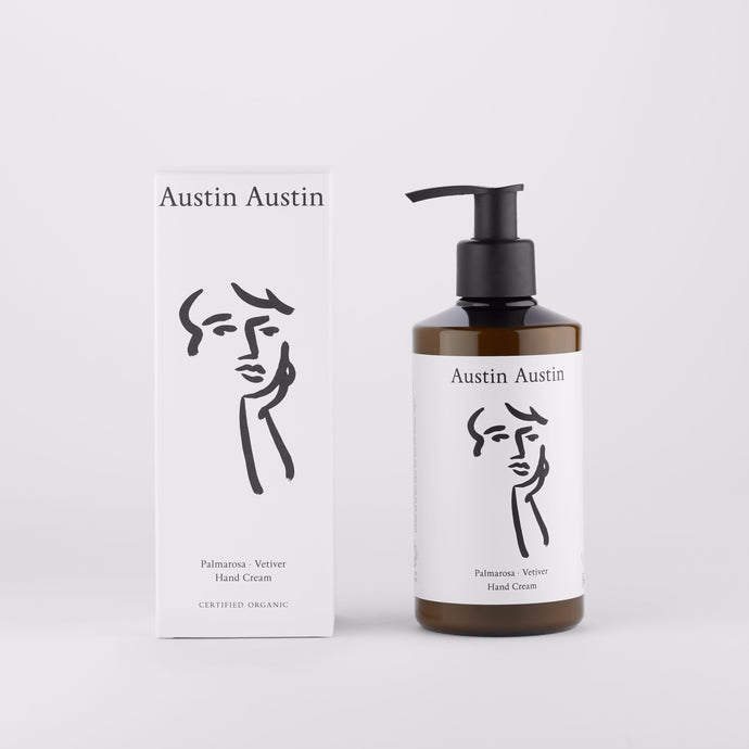 Austin Austin Certified Organic Hand Cream lotion Made with extracts of plants, grasses, seaweed & algae to moisturise & protect. Top notes of marjoram. Middle notes of palmarosa & rosemary. Base notes of vetiver & lavender.