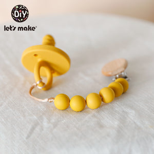 Grey / Yellow Silicone Pacifier & Clip