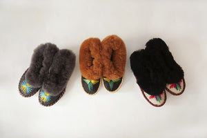 Childrens Embroidered Sheepskin Slippers