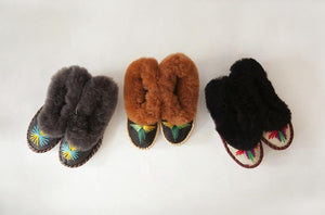 Handmade Embroidered Dark Sheepskin Slippers