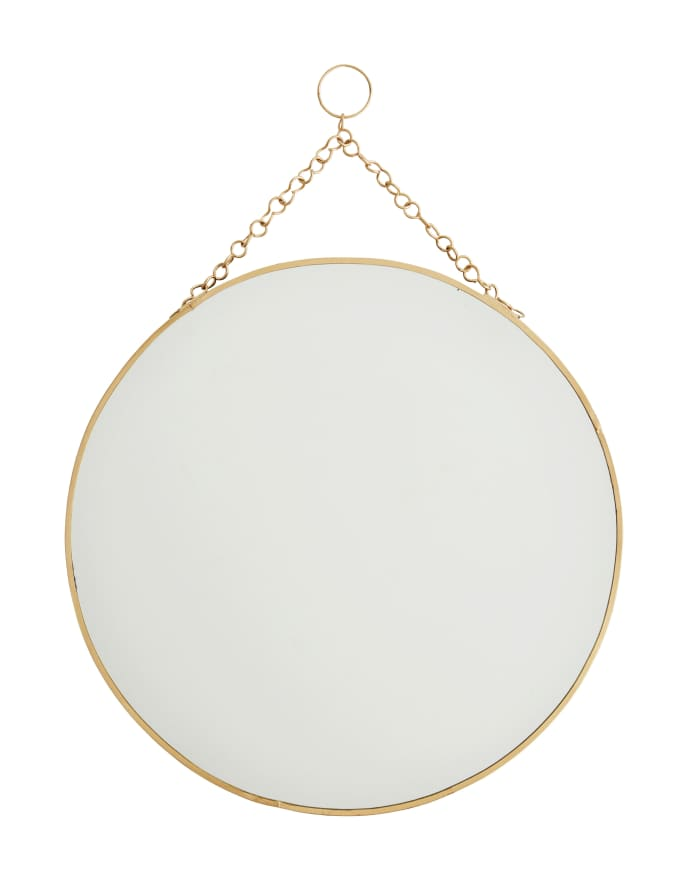 Hanging Round Brass Mirror 30cm
