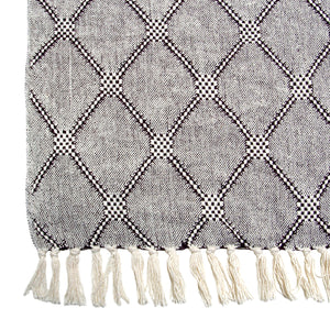 Black Cotton Woven Throw