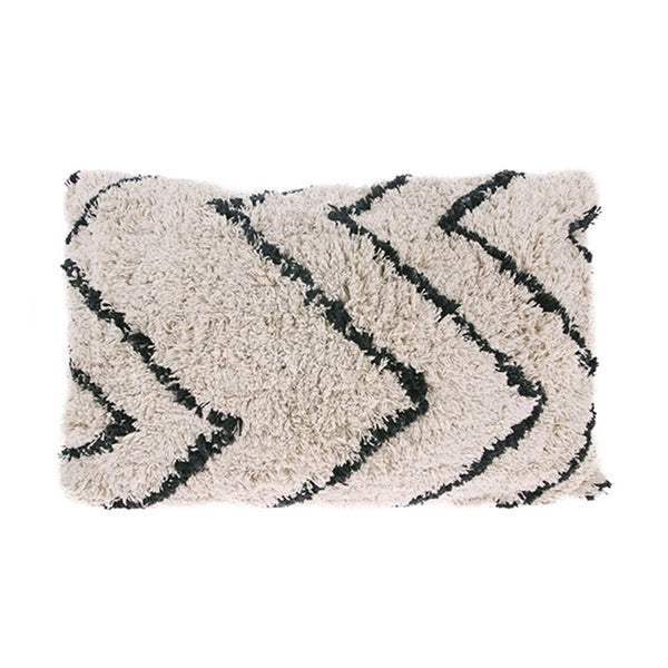 monochrome zig zag cotton cushion