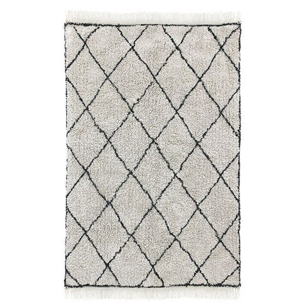 woven cotton diamond lines rug