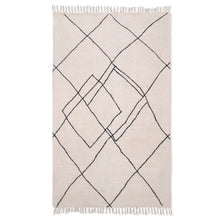 Load image into Gallery viewer, Handwoven Cotton Rug with Tufted Contrast Lines