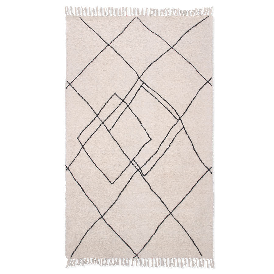 Handwoven Cotton Rug with Tufted Contrast Lines