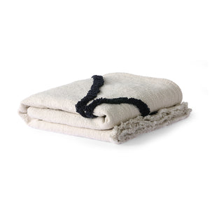 White Cotton Throw with Black Tufted Lines