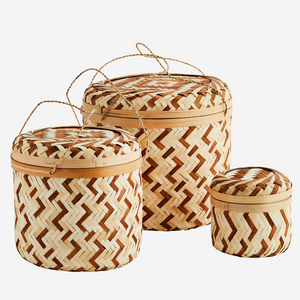 Trio of Woven Storage Baskets with Lids