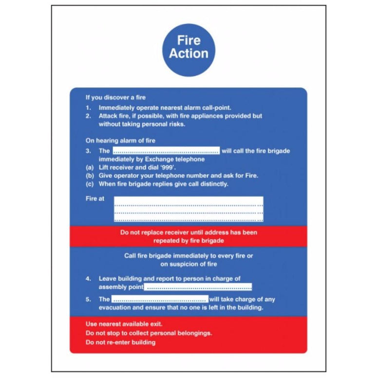 Fire action sign from Floorsaver