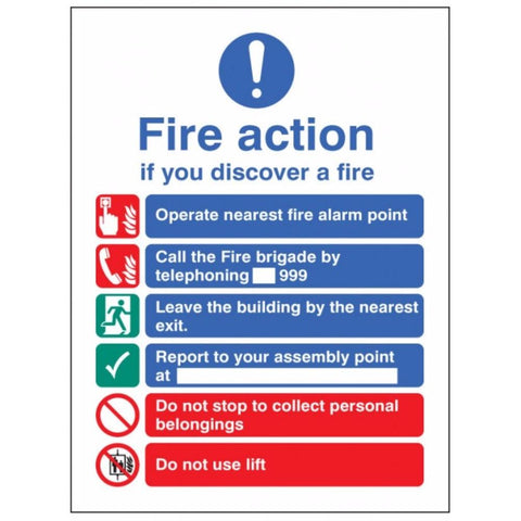 New EEC fire action (manual call 999) sign from Floorsaver