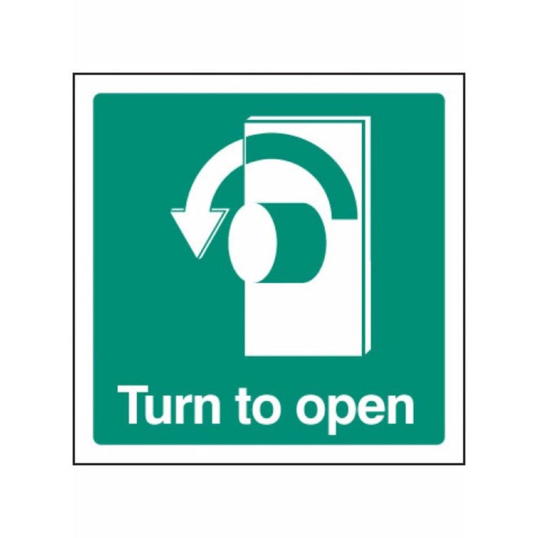 Turn to open - left sign from Floorsaver