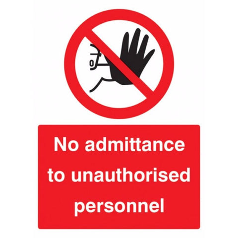 No admittance to unauthorised personnel sign from Floorsaver
