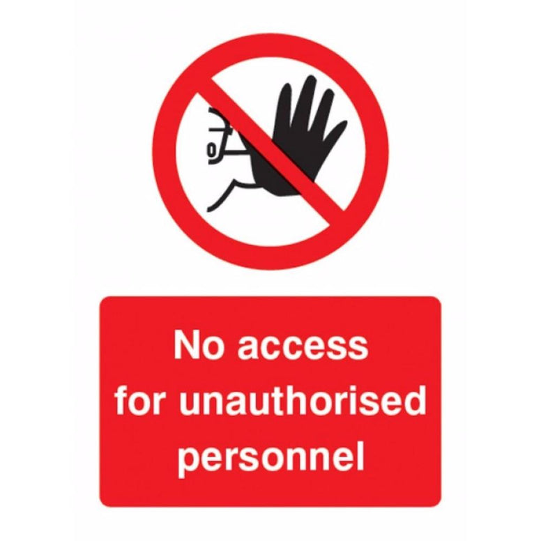 No access for unauthorised personnel sign from Floorsaver