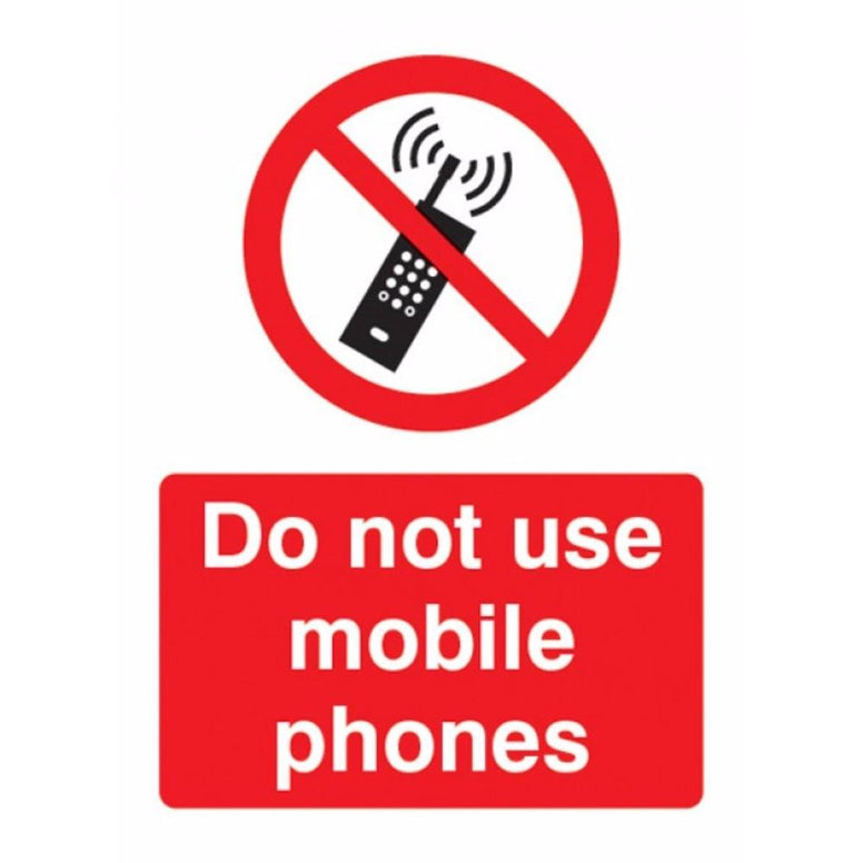 Do not use mobile phones sign from Floorsaver