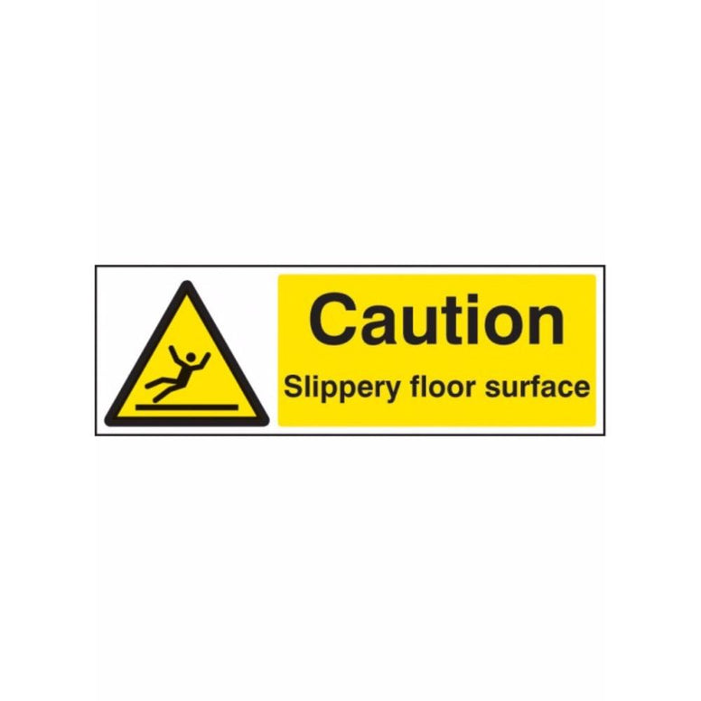 Caution slippery floor surface sign from Floorsaver